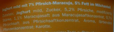 Creme Joghurt mild Pfirsich-Maracuja - Inhaltsstoffe
