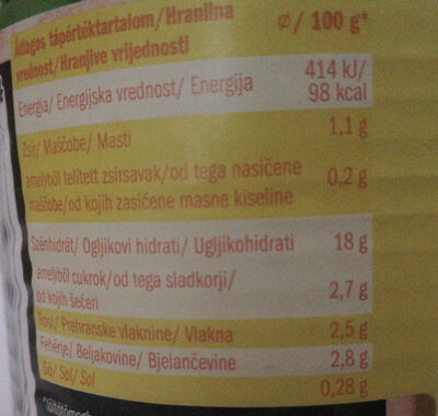 chira konzervkukorica - Informations nutritionnelles - hu