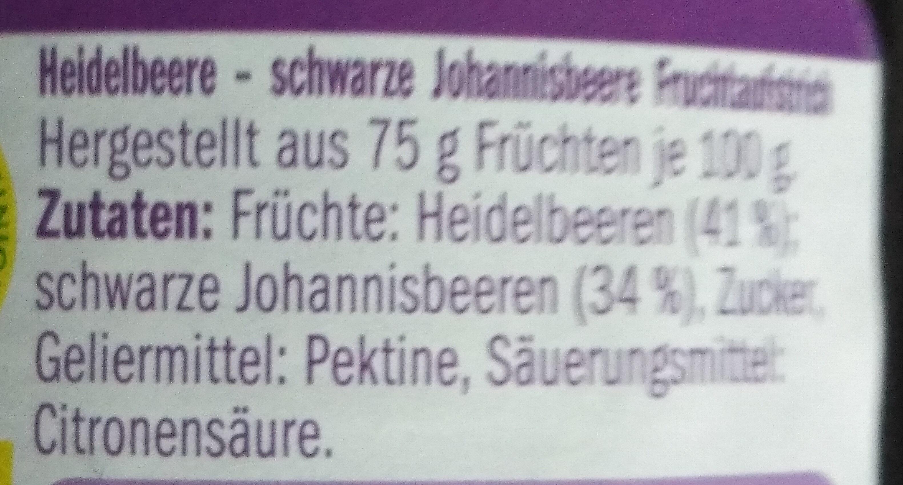 FRUCHTGENUSS  (75% Frucht ) Heidelbeere schwarze Johannisbeere - Ingredients