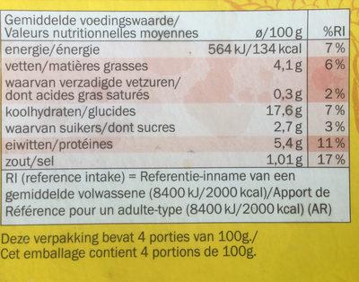 4 rouleaux de printemps légumes - Informations nutritionnelles