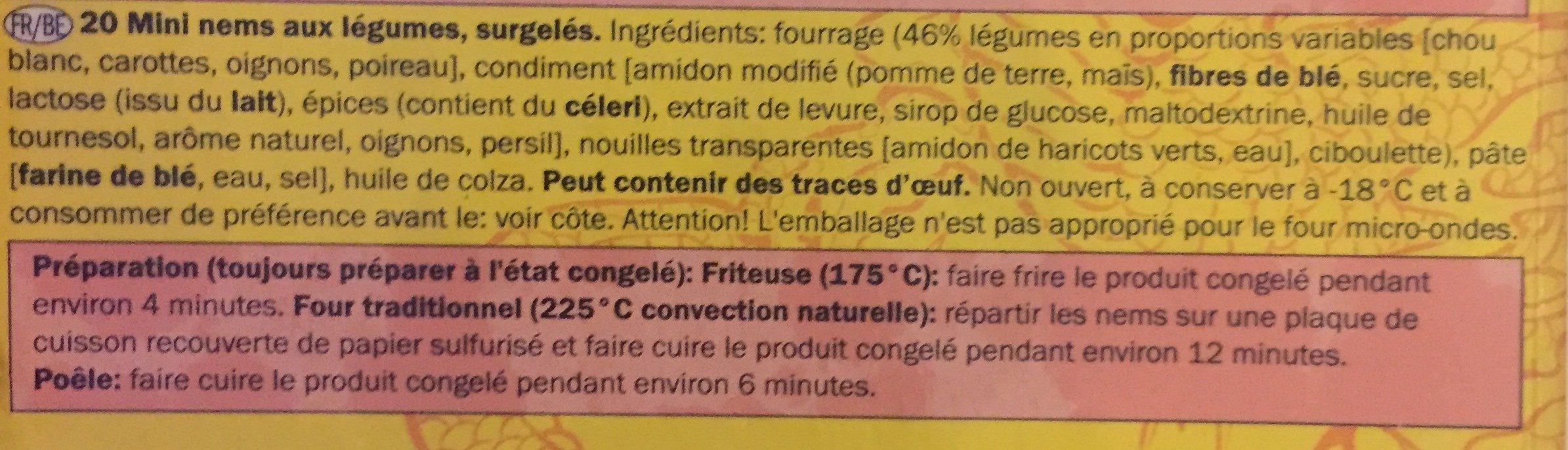 20 Mini-frühlingsrollen Mit Gemüse - Culinea - 400G - Ingrédients - fr