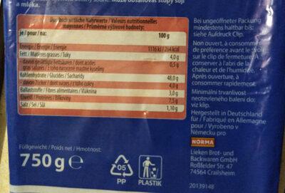 AMERICAN SANDWICH Weizen - Voedingswaarden