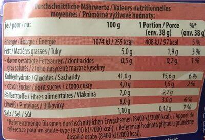 American sandwich vollkorn - Výživové údaje - fr
