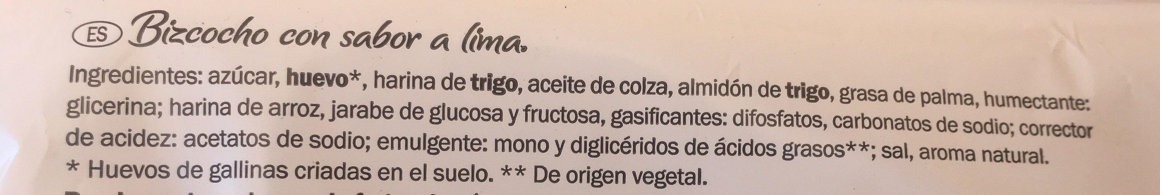 Bizcocho con sabot a lima - Ingrédients