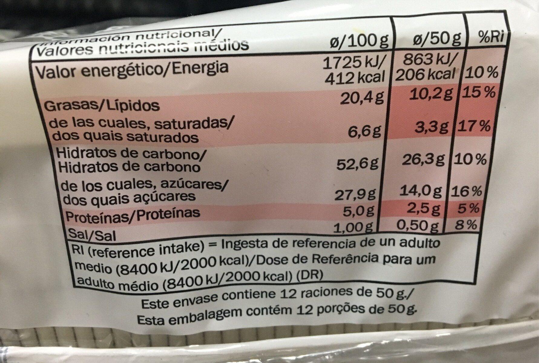 Bizcocho con crujiente de avellanas - Informació nutricional - es