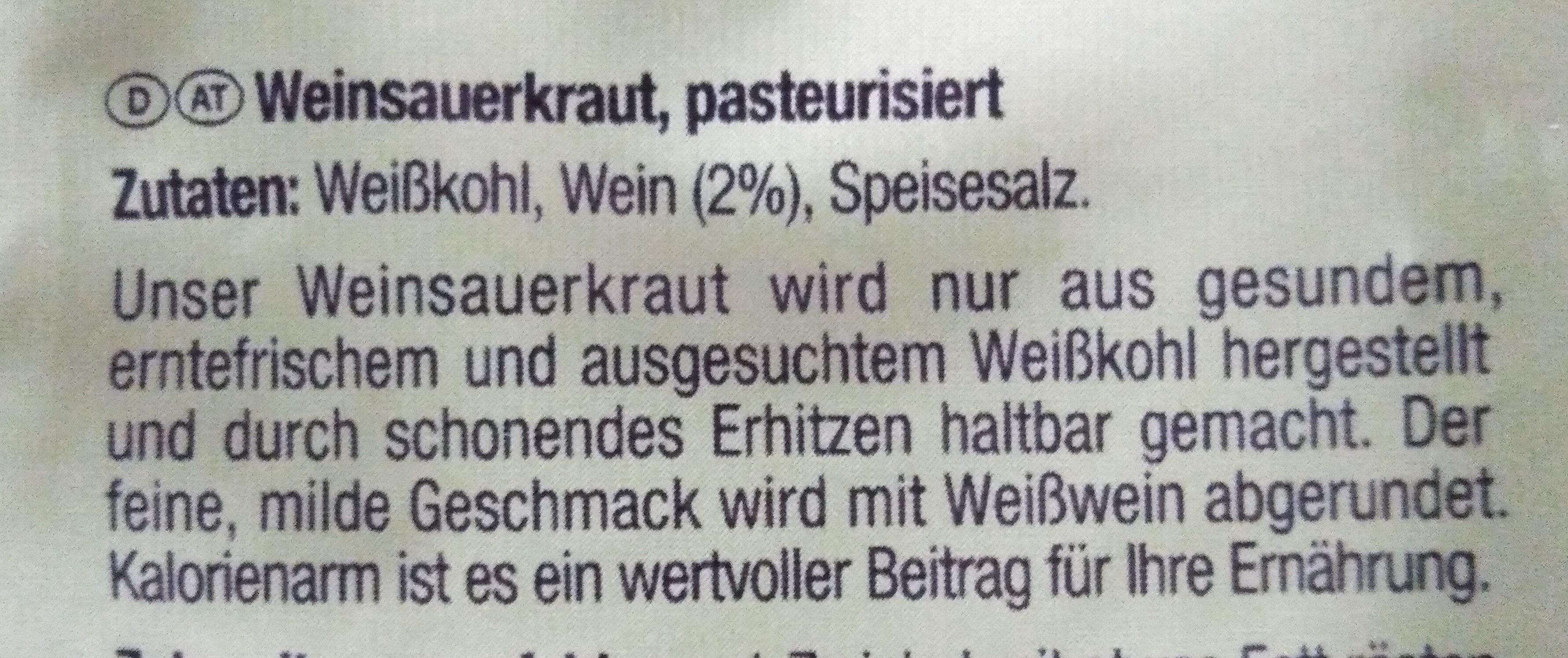Mildes Weinsauerkraut - Ingrédients - de