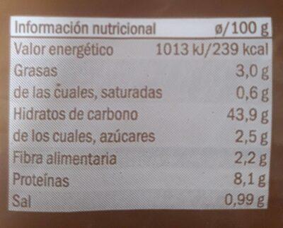 Pan Blanco sin corteza - Informació nutricional - fr