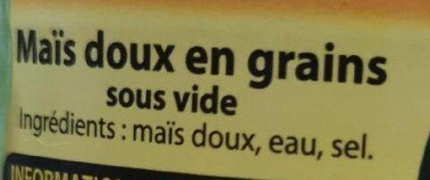 Mais doux en grain - Ingrédients - fr