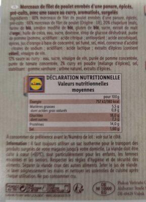 Croustillant de poulet avec sauce curry - Informations nutritionnelles - fr