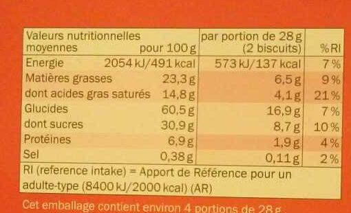 Biscino Chocolat Noir - Informations nutritionnelles - fr