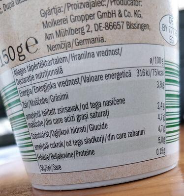 Yogurt natural - Informação nutricional - en
