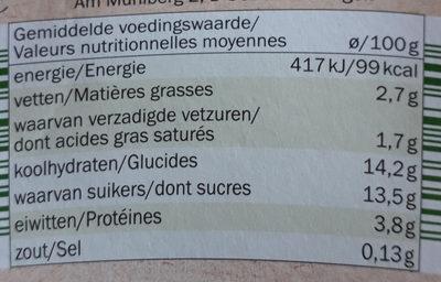 Yogur Bio Manzana Pera - Nährwertangaben