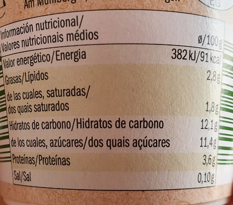Bio organic yogur sabor manzana y pera - Informations nutritionnelles - fr