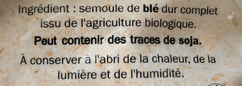 Farfalle au blé complet - Ingrédients