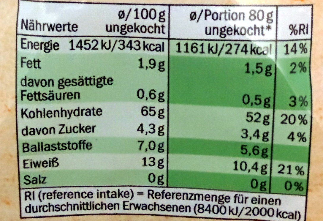 Farfalle au blé complet - Nutrition facts