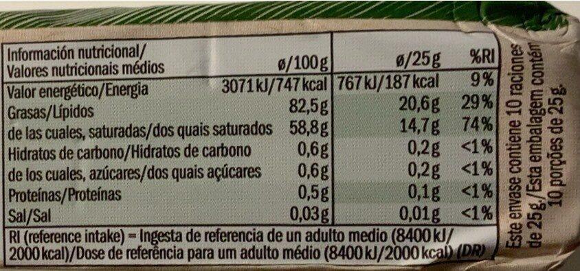 Beurre doux Bio - Informations nutritionnelles - es