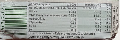 Beurre doux Bio - Wartości odżywcze - pl