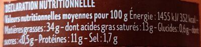 Terrine de foie de volaille - Voedingswaarden - fr