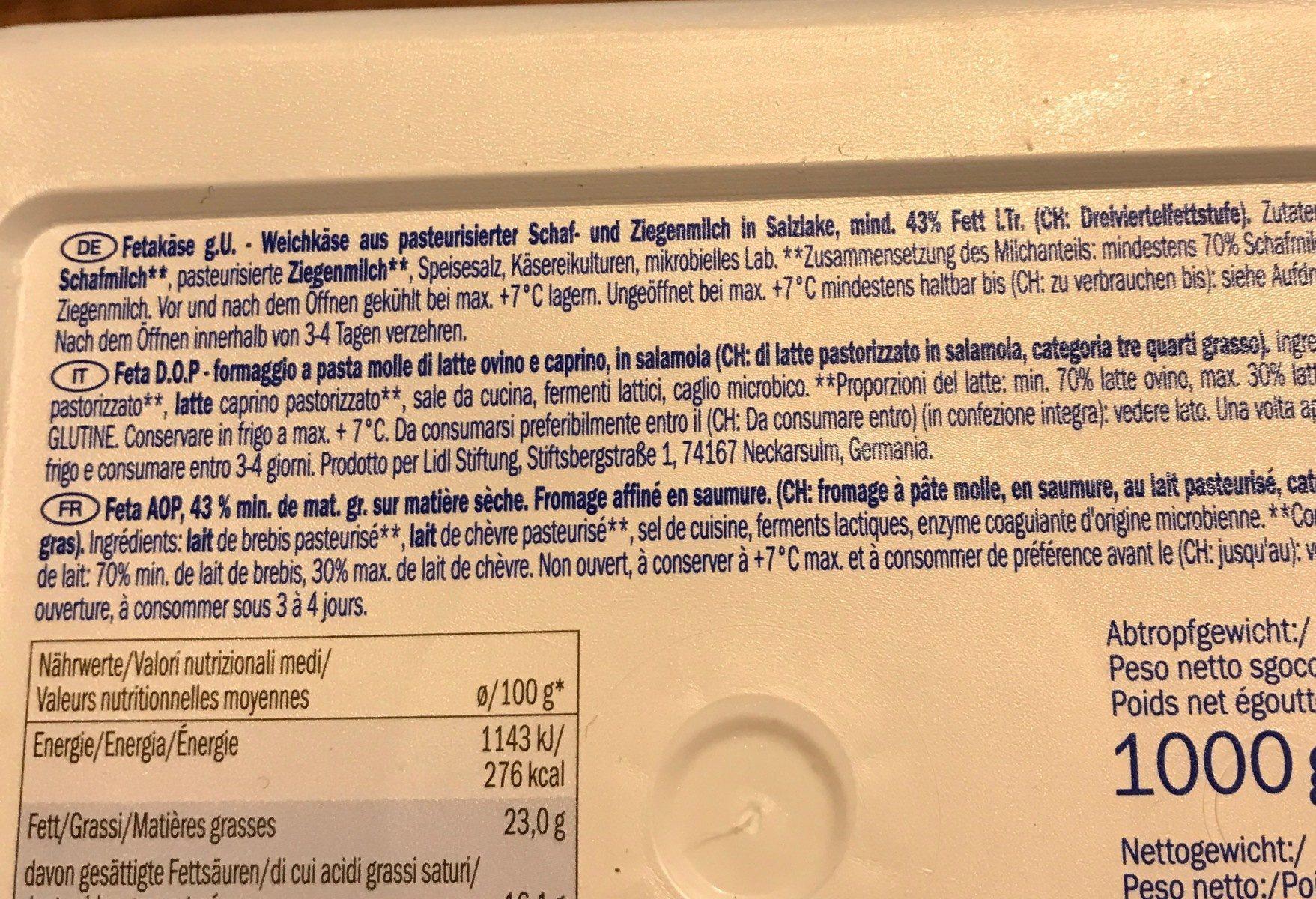Feta cheese PDO - Ingrediënten - fr