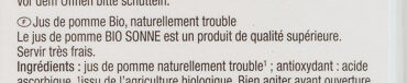 Jus de pomme Bio naturellement - Ingredients - fr