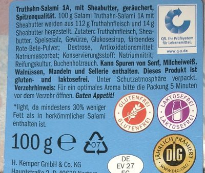 Salami 1a, Truthahn - Ingredients - en