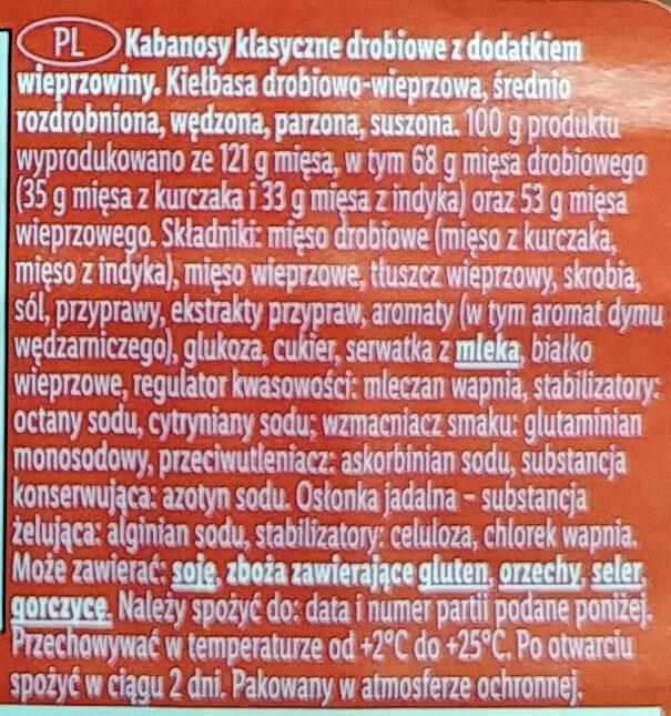 Kabanosy klasyczne drobiowe z dodatkiem wieprzowiny - Składniki - pl
