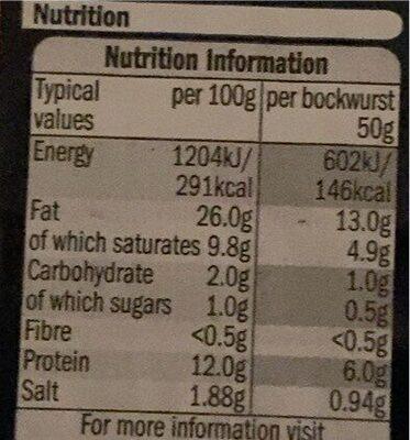 Mini Bockwurst - Nutrition facts - en