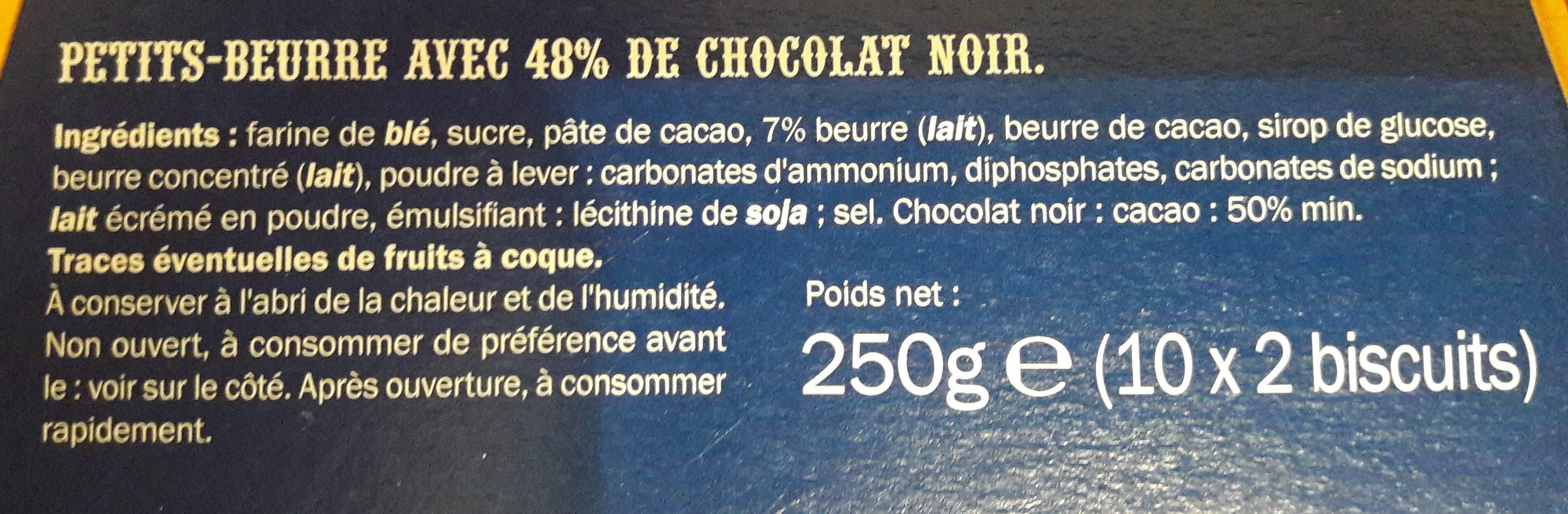 Petit-beurre tablette chocolat noir - Ingrediënten - fr