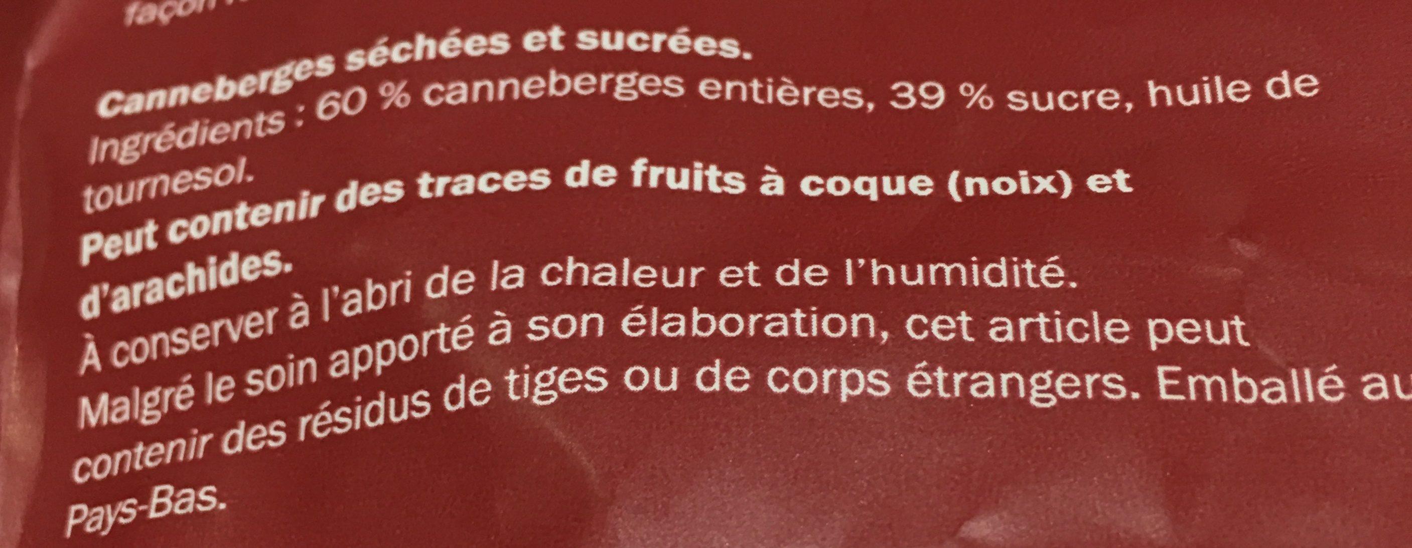 Canneberges (séchées/sucrées) - Inhaltsstoffe - fr