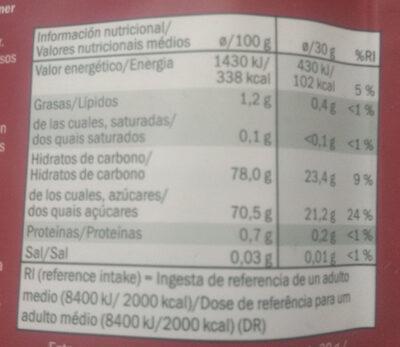 Cranberries getrocknet & gesüßt - Información nutricional - es