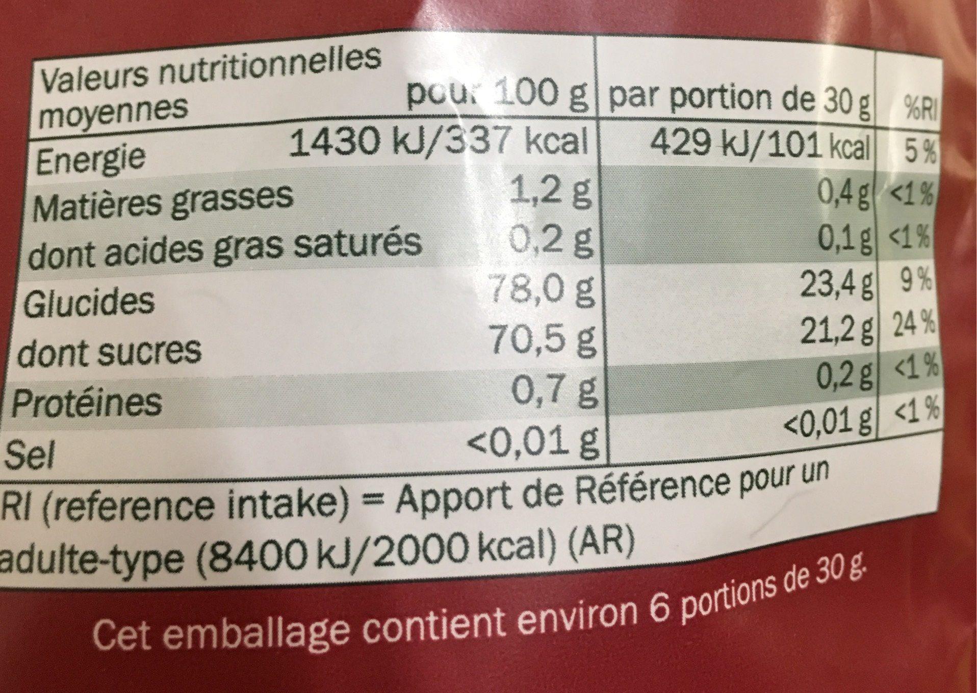 Cranberries séchées et sucrées - Nutrition facts - fr