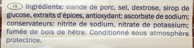 Jambon Cru Légèrement Fumé - Ingrédients - fr