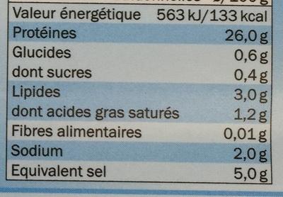 Jambon Cru Légèrement Fumé - Informations nutritionnelles - fr