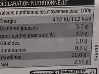 Jambon roti - Voedingswaarden - fr