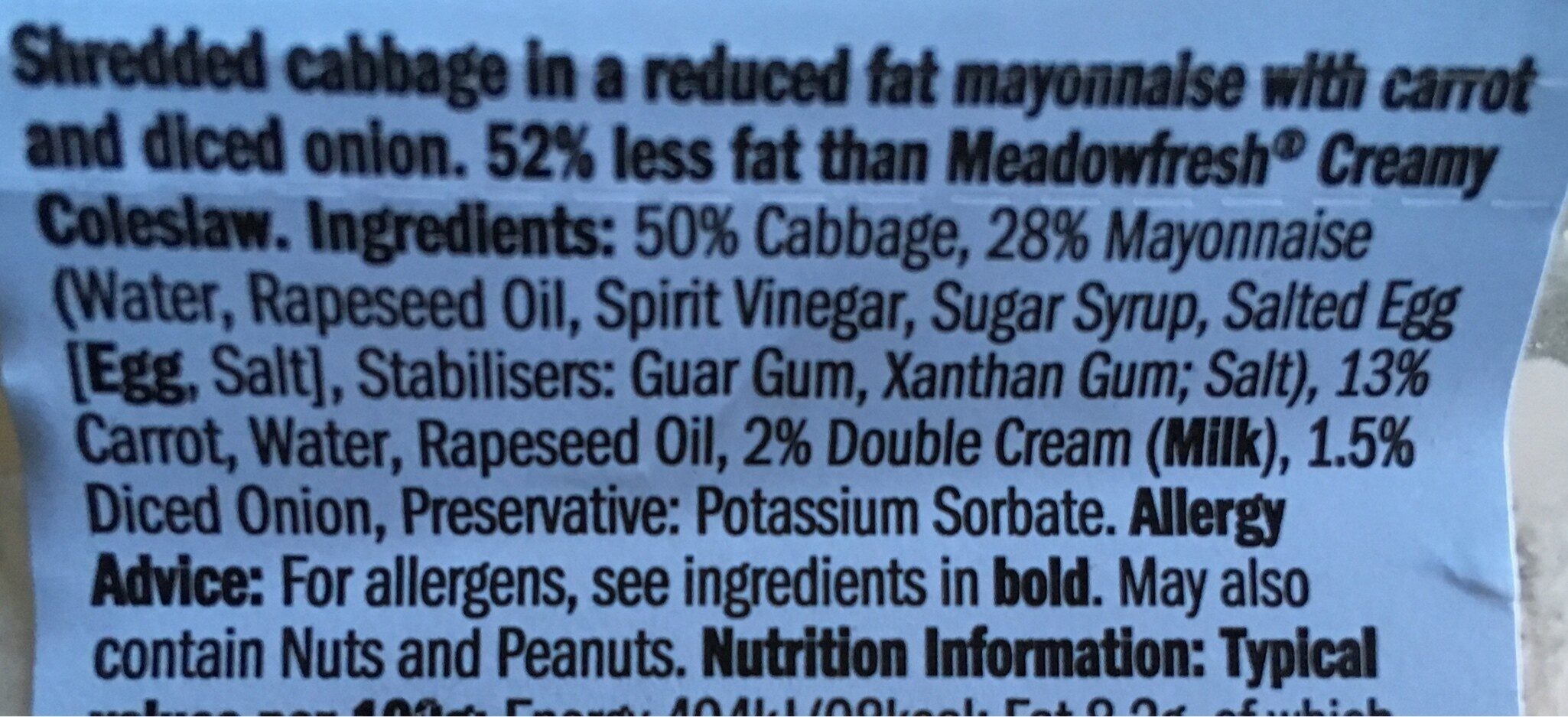 Reduced Fat Coleslaw - Ingredients