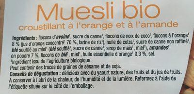 Muesli bio orange et amande - Ingrediënten - fr