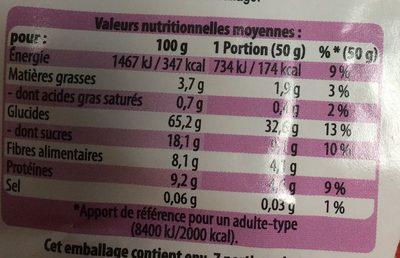 Muesli bio aux fruits rouges - Valori nutrizionali - fr