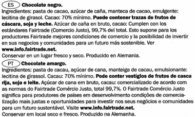 Tableta de chocolate negro 70% cacao - Ingredientes