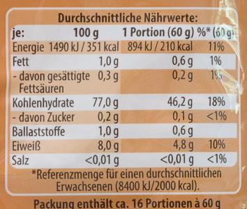 Basmati Reis Traditionell - Voedingswaarden