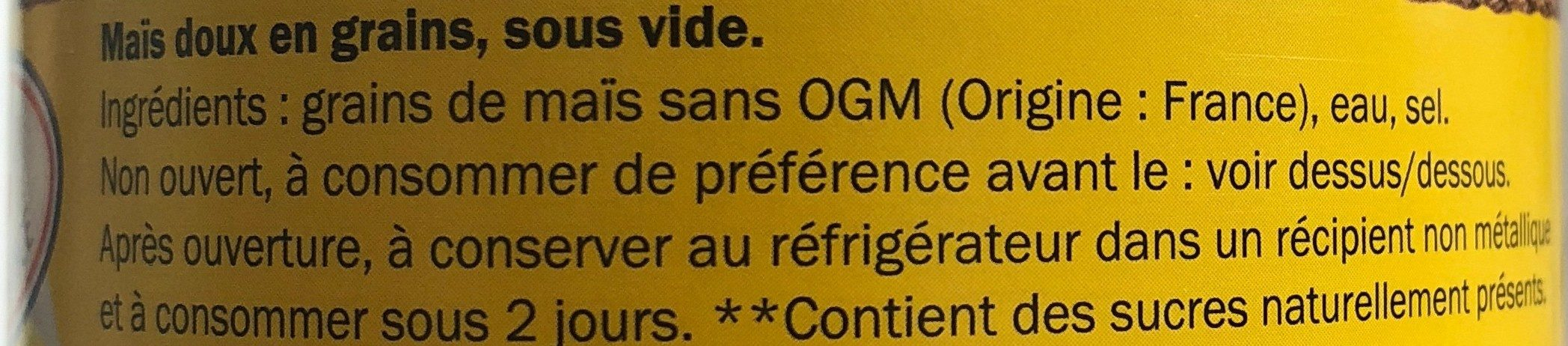 Mais - Ingrédients - fr