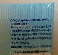 Blattgelatine weiss - Inhaltsstoffe