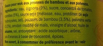 Sauce pour wok - pousses de bambou et poivrons - Ingrédients