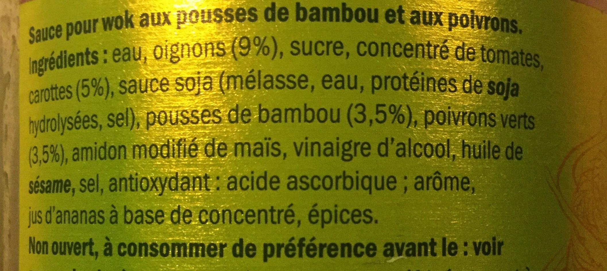 Sauce pour wok - pousses de bambou et poivrons - Ingrédients - fr