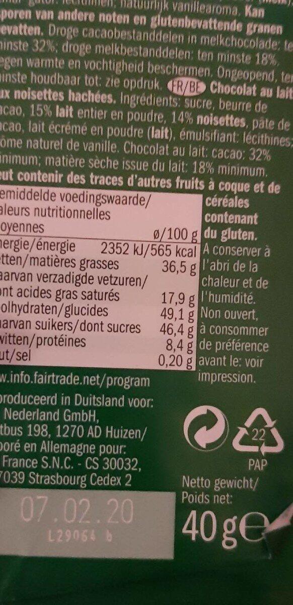 Lait- noisette - Ingrédients