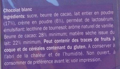 Chocolat blanc - Ingrédients