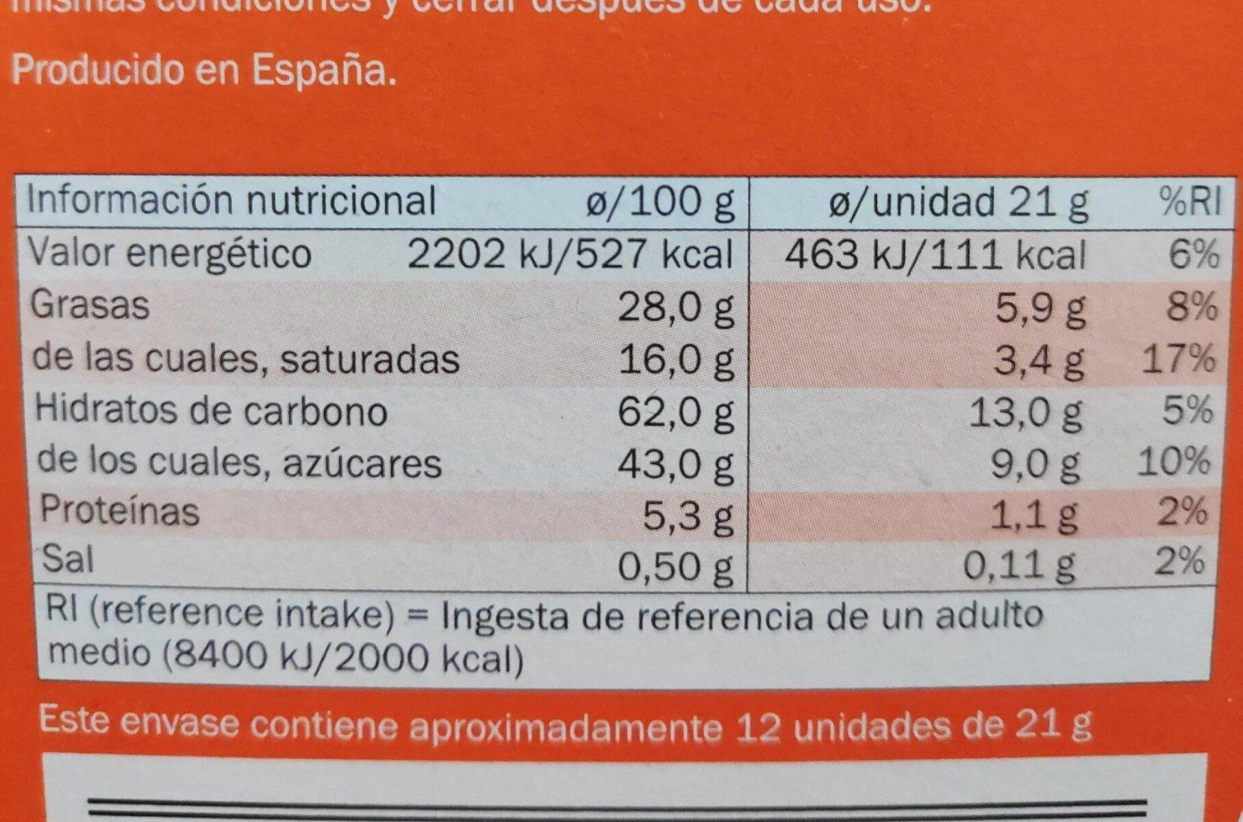Hot drinking chocolate - Informació nutricional