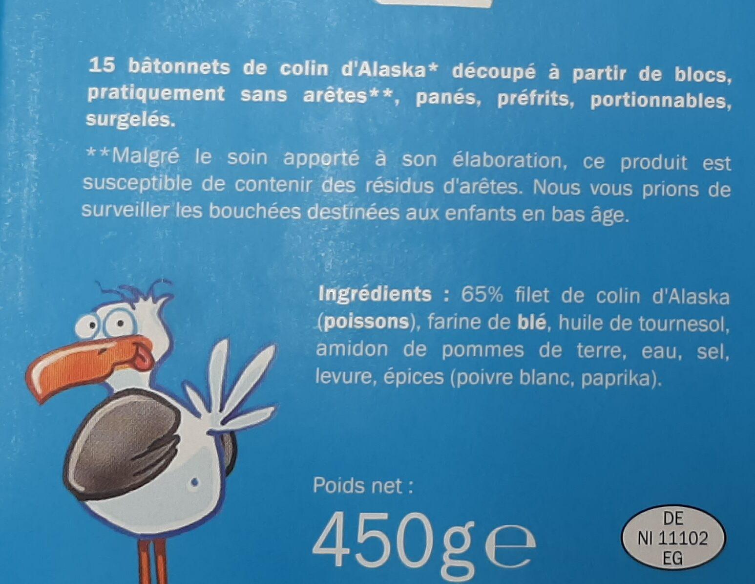 Bâtonnets de colin d'Alaska - Ingrédients - fr