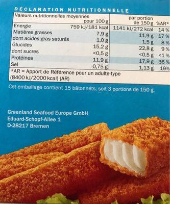 Fischstäbchen Batonnets de colin d'alaska - Informations nutritionnelles