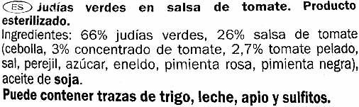 Judías verdes en salsa de tomate - Ingredients