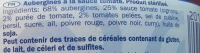 Aubergines à la sauce tomate - Ingredients